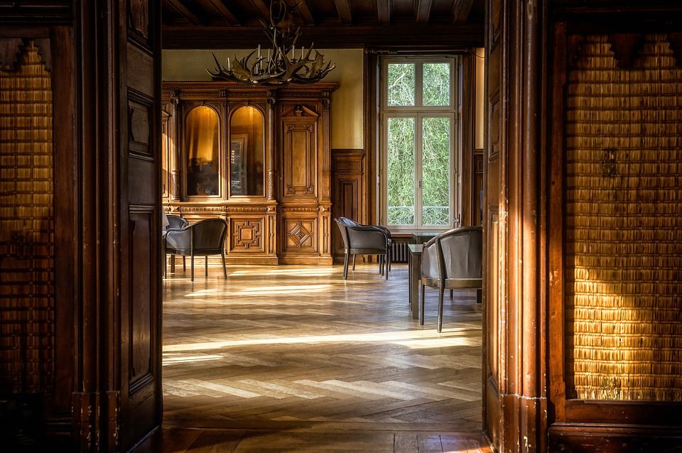 Elegant parquet flooring on an old house