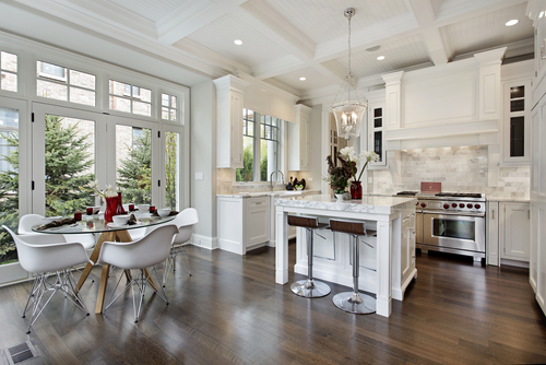 Hardwood is a good choice for the kitchen.